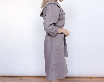 Linen nightgown, organic robe, dressing robe, loungewear, spa robe, nightgown, bridesmaid robes, wedding robes, house dress, wifey robe