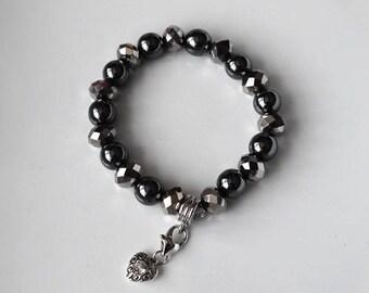 Luxurious Handmade Women's Black Hematite and Crystal Bracelet with Heart Charm