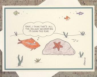 Star Christmas Card, Funny Holiday Card, Funny Christmas Card, Quirky Holiday Card, Happy Holidays Card, Fish Holiday Card, Funny Xmas Card