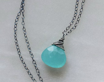 Aqua Chalcedony Necklace, Oxidized Silver Necklace, Sterling Silver Necklace, Oxidized Aqua Chalcedony Necklace, Oxidized Pendant