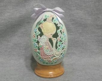 Precious Moments Egg Make A Joyful Noise On Wood Base - 1992