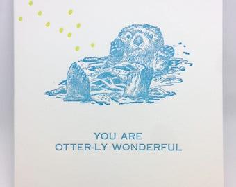 Sea Otter Hello Letterpress Note Stationery Note Card