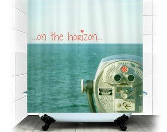 Rideau de douche tissu - décor de salle de bain - plage, la vie, océan, mer, mouettes, beau,