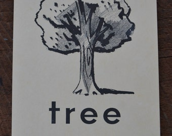 Vintage 1950s Educational Ephemera Scrapbooking Large Picture Print Flash Card - Tree