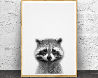 Raccoon Print, Woodlands Decor, Woodland Animals, Nursery Animals, Nursery Printable, Animal Art, Nursery Animal Print, Nursery Decor