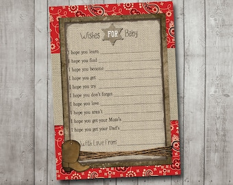 Boy Baby Shower Wishes For Baby Card Cowboy Western Sheriff Burlap Rustic Red Bandana Printable Instant Download Digital