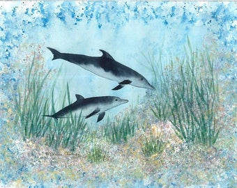 Dolphins 18x24 watercolor & acrylic #2a