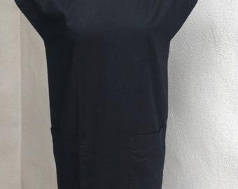 Vintage New Wave black cotton dress big shoulders button back Sz XS UK 36