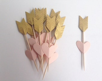 Heart and Arrow Wedding Party Gold and peach Cupcake Toppers