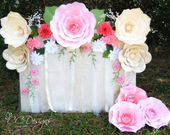 Paper flower backdrop giant paper flowers large paper paper flower rose backdrop diy paper flower patterns and tutorials paper rose templates mightylinksfo Images
