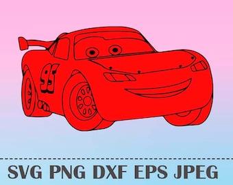 SVG Lightning McQueen CARS3 Vector Layered Cut File Silhouette Cameo Cricut Design Template Stencil Vinyl Decal Tshirt Heat Transfer Iron on