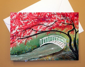 Art Greeting Card  - Created from Original ACEO drawing for Charity - Blank Notecard - 4x6 - Japanese Garden - Day 363