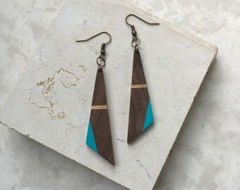 5th & 6th Anniversary Gift - Wood Jewelry - Painted Wood Earring - Wood Dangle Earring - Wood Earring Triangle - Asymmetric Triangle Earring
