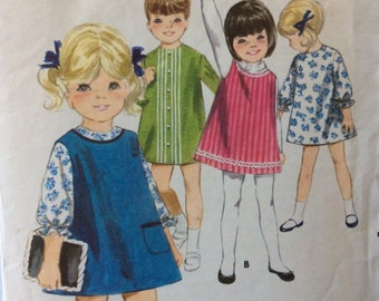 Butterick 3688 girls A-line dress & jumper size 6 vintage 1960's sewing pattern