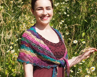 The Jane Goodall: Luxury Crocheted Handmade Wool Silk Nylon Mohair Multi-Colored Lacy Shawl