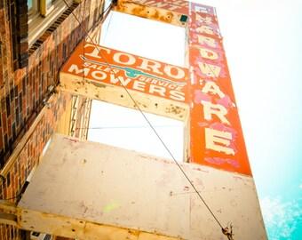 Dallas Texas Vintage Retro Rustic Sign - Fine Art Photograph - Oak Cliff Paint and Hardware