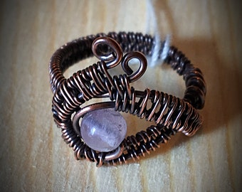 Wire Woven Moonstone Eye ring