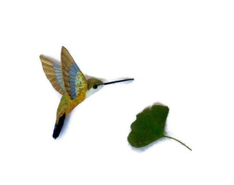 Hummingbird Art Paper mache Sculpture Colibri figurine Anniversary gift Home decorations Gift for her