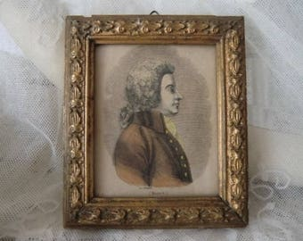 Vintage Antique Miniature Portrait Mozart engraving picture