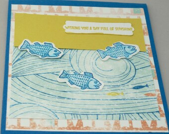 Lake Birthday Day Card, Outdoors Birthday Day Card, Handmade Ocean Fishing Birthday Day Card, Outdoor Birthday Card, Summer Happy Birthday