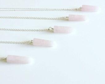 Rose Quartz Spike Necklace, Rod Necklace, Rose Quartz Stone, Crystal Necklace, Bohemian Jewelry