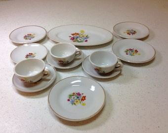Vintage Porcelain China Toy Dishes 12 Pieces White with Multicolored Flowers and Gold Trim Made in Japan Previously 25 Dollars ON SALE