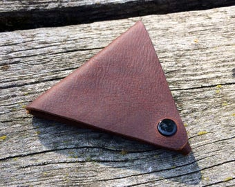 Coin Purse - Triangle, Chocolate Brown// Change Pouch // Leather Coin Purse // LARP