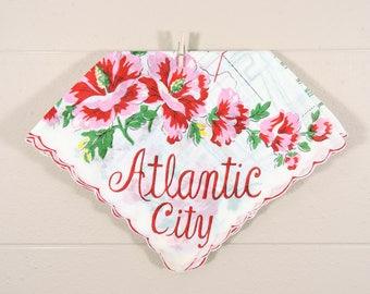 Atlantic City Vintage Hankie / Atlantic City Souvenir Hanky / Atlantic City Map Hankie