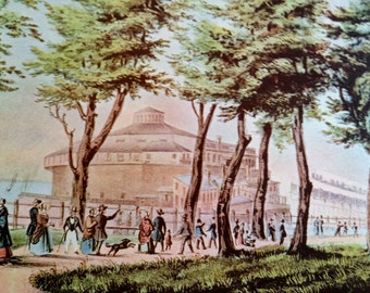 Castle Garden The Battery  New York Print 1952 Currier & Ives Print 1800s Reprint to Frame 11 x 15