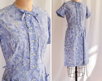 "1940s Dress | Forget Me Not | Vintage 40s Shirtwaist Day Dress Lilac Floral Print Ruffle Front w/ Pockets Jeanne Crain Label 36"" Bust"