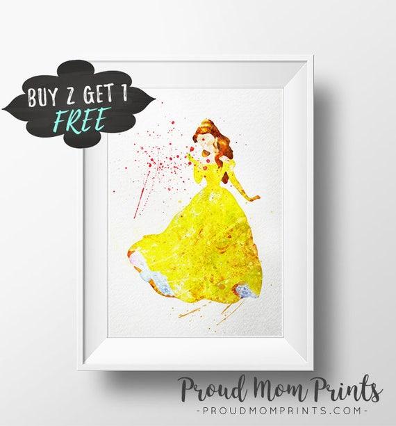 Disney Princess Art Print Poster Belle Wall Art Nursery Decor