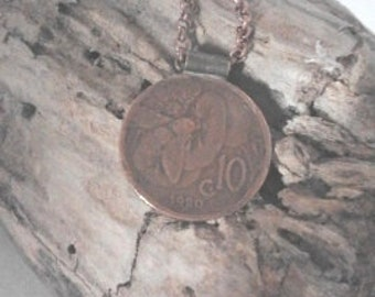 Copper necklace with ancient coin