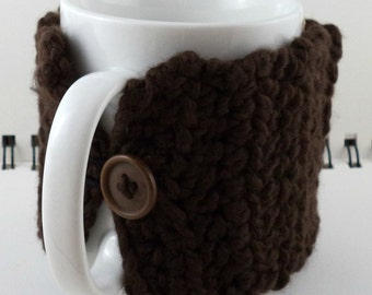 Crocheted Coffee or Ice Cream Cozy with Pocket in Chocolate Brown with Brown Button (SWG-E07)