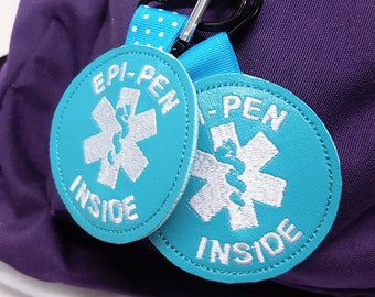 "Medical Alert Tag ""Epi-Pen Inside"" Label Teal Food Allergy Awareness  Backpack Medical Alert Tag by Alert Wear"