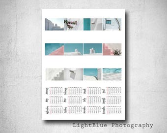 Wall Calendar 2018 Yearly Calendar Print Minimal Photography Greece Print Greece Photography Digital Download  Moms Cristmas Gift