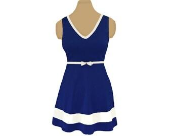 Navy + White Skater Dress