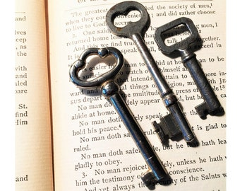 Antique Skeleton Keys Set of Three Solid Steel Skeleton Keys with Different Unique Designs
