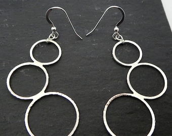 Sterling silver triple ring earrings, silver 925 three ring design earrings with silver hook and ball ear wires, three ring curved earrings