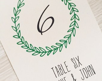 Wedding table number cards - rustic laurel wreath