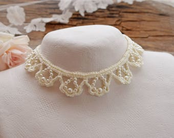 Ivory pearl necklace Wedding choker pearl Cream choker necklace Bridal jewelry Rustic wedding bride Romantic choker pearl Vintage style