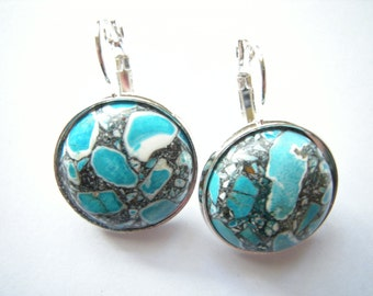 Sterling Silver Ocean Jasper Earrings