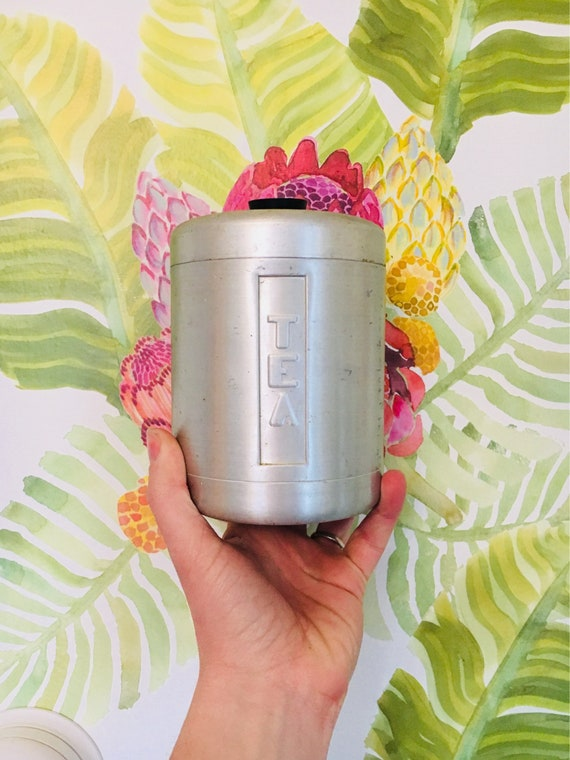 Vintage Mid-Century Steelmasters Inc Made in Italy Tea Tin Canister - Vintage McM Kitchen Storage - Retro Tea Tin