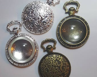One Pocket watch Pendant Blank Bezel Tray Setting // with Matching Clear Glass Cabochon (20mm) // APB012/13