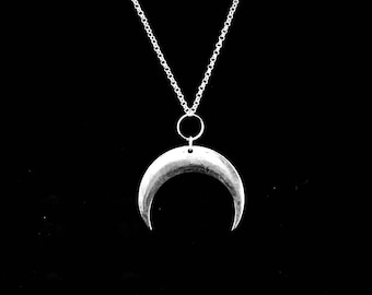 crescent, MOON GODDESS necklace, double horn, crescent moon necklace, occult jewelry, witchy, magical, witchcraft, coven, gothic, darkwave