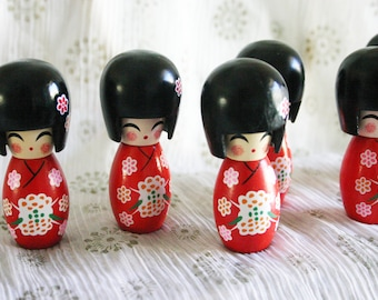"""RED Sakura chan - 1 Wooden Japanese Kokeshi doll (2.75""""x1"""" at widest points)"""