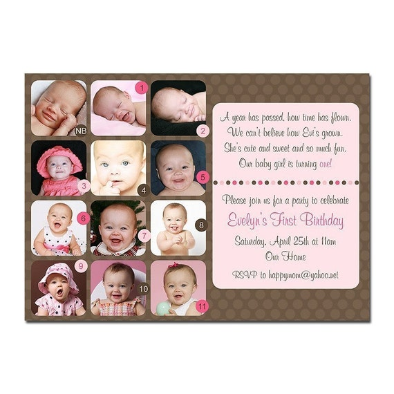 Birthday Quotes For Invitations: Items Similar To Dottie First 1st Birthday Photo