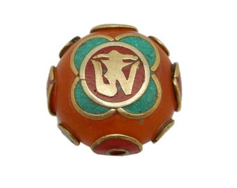 Tibetan Bead - Large Tibetan Bead with OM Accent - Amber Resin with Turquoise Brass and Red Copal (S121B8-07)
