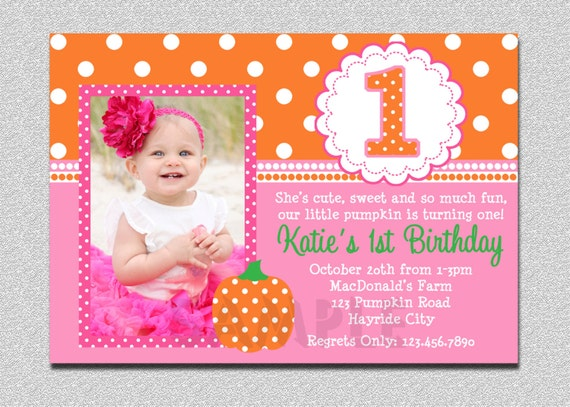 Pumpkin birthday invitation pumpkin 1st birthday party like this item stopboris Image collections