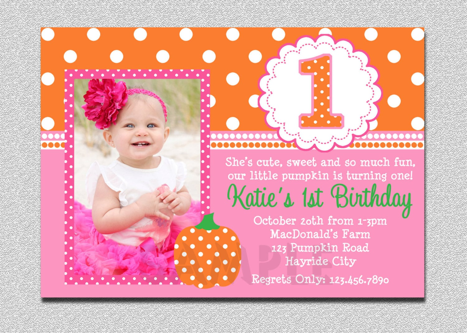 Pumpkin birthday invitation pumpkin 1st birthday party zoom filmwisefo Images