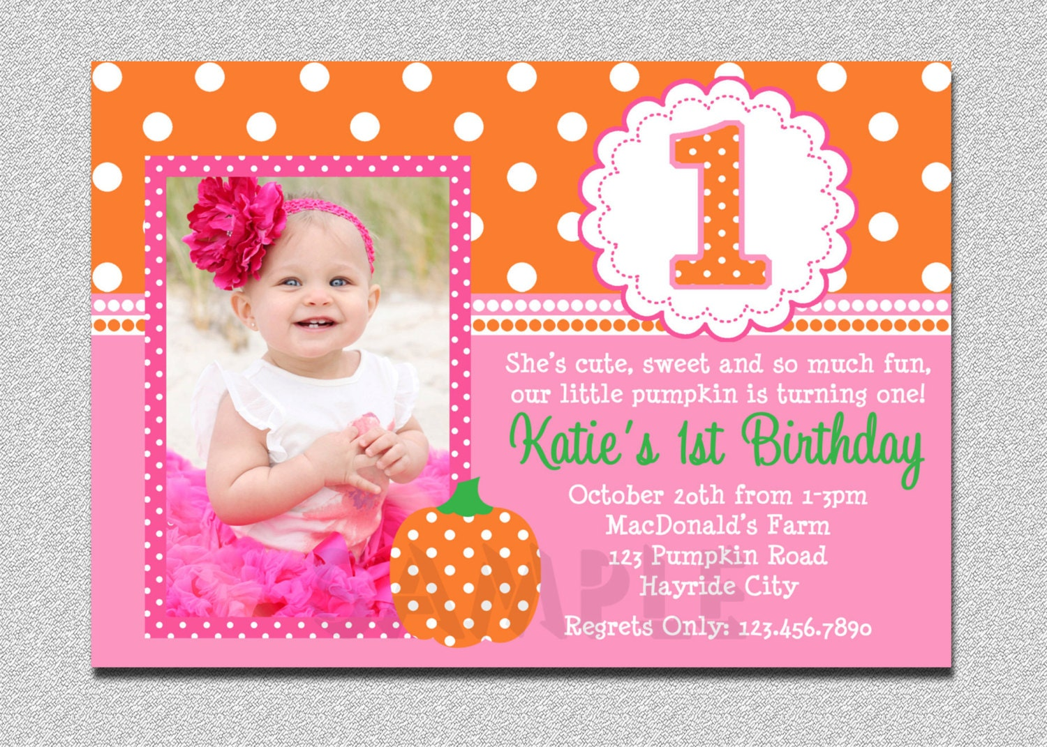 Pumpkin birthday invitation pumpkin 1st birthday party zoom stopboris Images